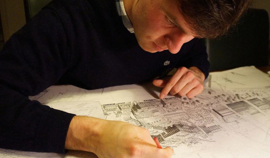 Chủ yếu sử dụng những ấn tượng đọng lại trong bộ nhớ, họa sĩ Stefan Bleekrode đã miệt mài dùng bút và mực để vẽ lại các thành phố anh từng đi qua.