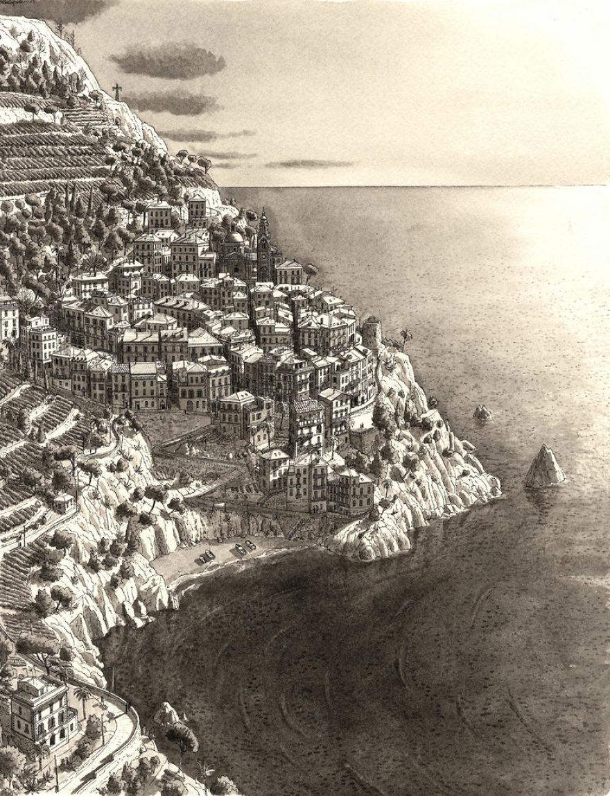 Ngôi làng ở Cinque Terre, Italy được mệnh danh là vùng đất sặc sỡ nhất thế giới.