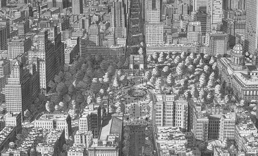 Quảng trường Washington, New York với những tán cây và tòa nhà cao tầng.