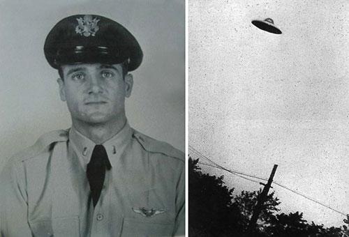 Trung úy Felix Moncla và hình ảnh được cho là của UFO.