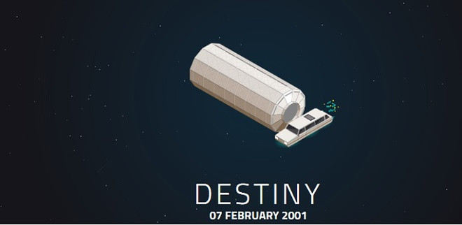 Mang tên Destiny (Định mệnh), đây là khối phòng thí nghiệm đầu tiên của Mỹ trên trạm vũ trụ, được đưa lên vào ngày 7/2/2001.