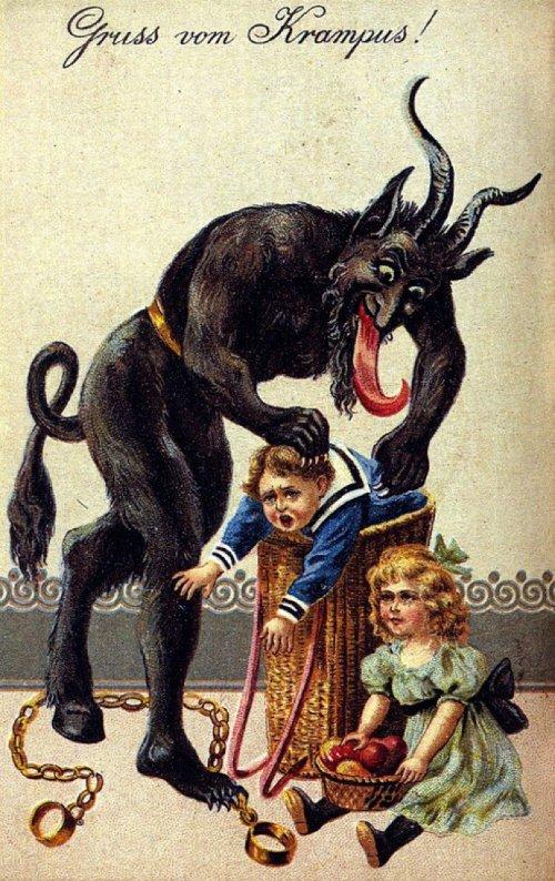 Krampus là con quỷ đáng sợ, chuyên trừng phạt trẻ hư - trái với ông già Noel đi tặng quà cho trẻ con.