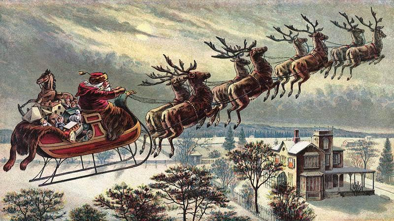 """Santa Claus là """"phiên bản"""" ông già Noel phổ biến nhất trên thế giới. Hàng năm, cứ tới đêm Giáng sinh 24/12, ông lại cưỡi trên cỗ xe được kéo bởi 9 chú tuần lộc đáng yêu bay khắp bầu trời, tặng cho trẻ em những món quà đặc biệt."""