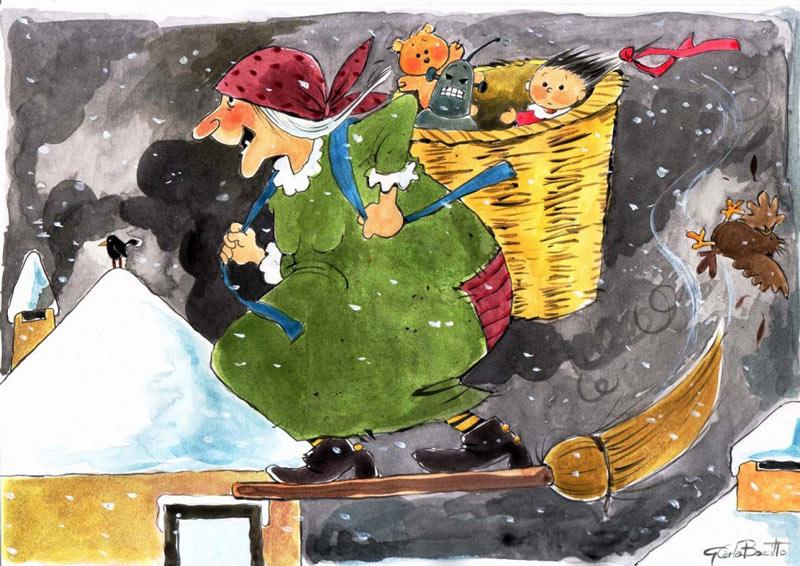 Trong truyền thuyết, La Befana là một bà lão cau có, mặc áo choàng đen, ăn vận giống phù thủy.