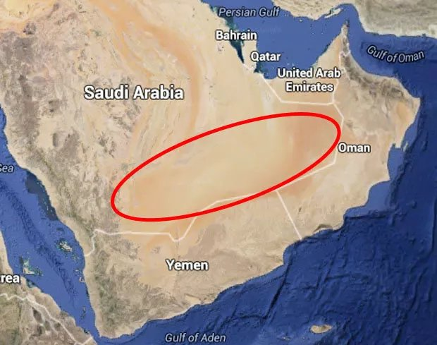 Sa mạc Rub 'al Khali chiếm tới 1/4 diện tích Ả rập Saudi.