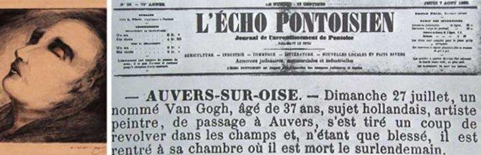 Bài báo về cái chết của Van Gogh trên tờ L'Echo Pontoisien, ngày 7/8/1890.