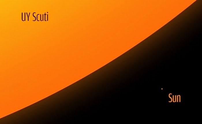 So sánh kích thước siêu sao UY Scuti với Mặt Trời.