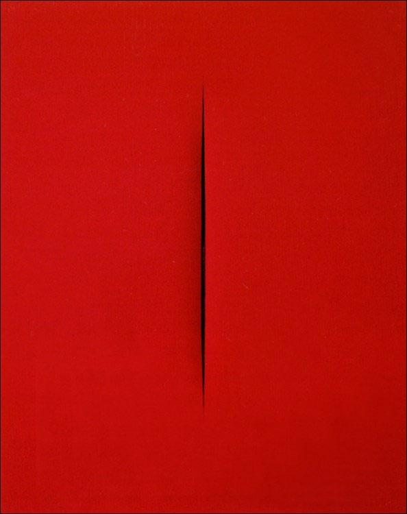 "Bức tranh ""Concetto Spaziale, Attesa"" của danh họa Lucio Fontana, có giá 1,2 triệu USD."