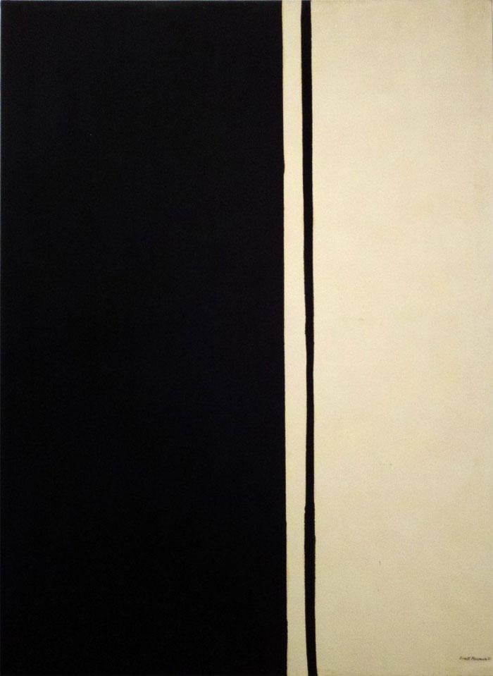 """Tác phẩm """"Black Fire 1"""" của tác giả Barnett Newman, trị giá 84,2 triệu USD."""
