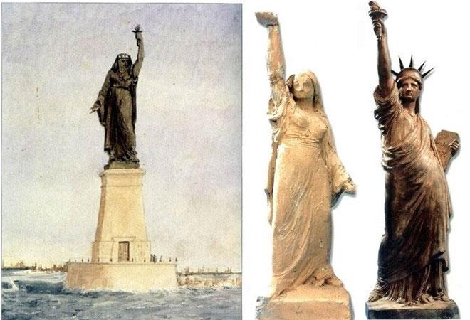 """Khi kênh đào sắp hoàn tất sau 10 năm gian khổ, nhà điêu khắc người Pháp Frédéric-Auguste Bartholdi đã cố thuyết phục Ferdinand de Lesseps và chính quyền Ai Cập xây dựng một bức tượng có tên """"Ai Cập đem ánh sáng tới châu Á"""" đặt ở cửa đổ ra Địa Trung Hải."""