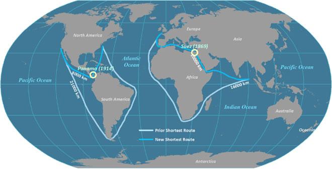 Ngày 17/12/1869, kênh đào Suez nối Địa Trung Hải với Biển Đó chính thức mở cửa sau 15 năm xây dựng.
