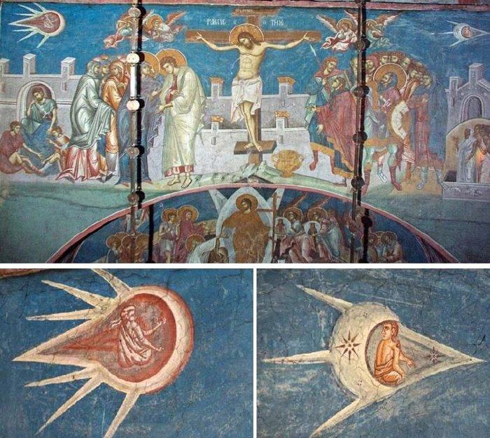 """Bức tranh tường """"Chúa Jesus bị đóng đinh trên cây thánh giá""""."""