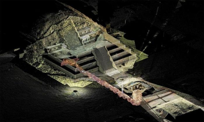 """Các chuyên gia có phát hiện khảo cổ học đáng chú ý đó là tìm thấy """"con sông"""" thủy ngân lỏng dưới một kim tự tháp của người Maya ở Teotihuacan."""
