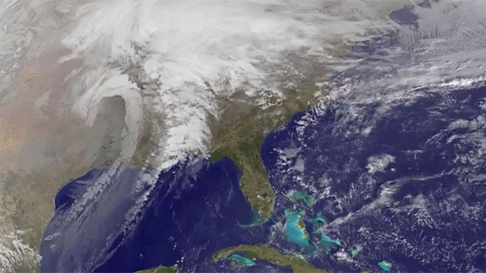 """Hình ảnh cơn bão """"Goliah"""" chụp từ vệ tinh của NASA."""