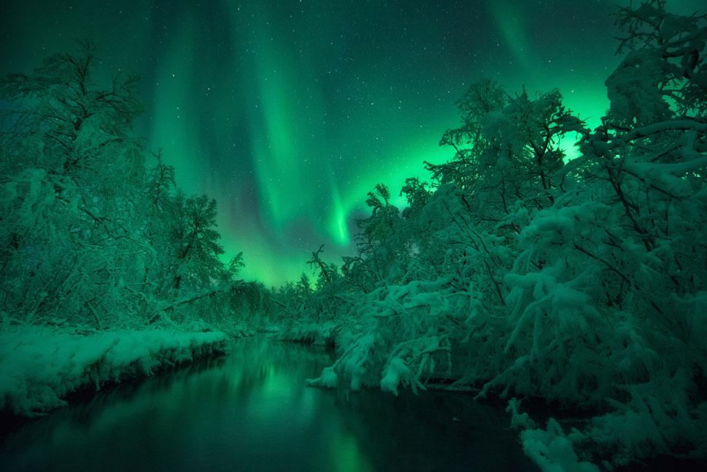 Các dải cực quang xanh biếc trên sông Lomaas, Na Uy. Nhiếp ảnh gia đã ngâm mình dưới nước suốt 2 tiếng đồng hồ, trong nhiệt độ -15 độ C để có được bức ảnh này.