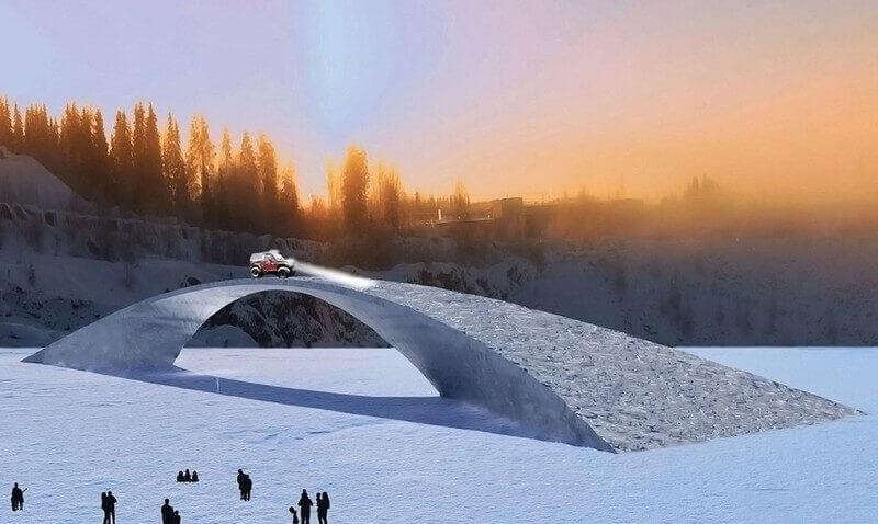 Cây cầu băng sẽ được xây dựng theo thiết kế hơn 500 năm trước của Leonardo Da Vinci. Ảnh: Discovery News.