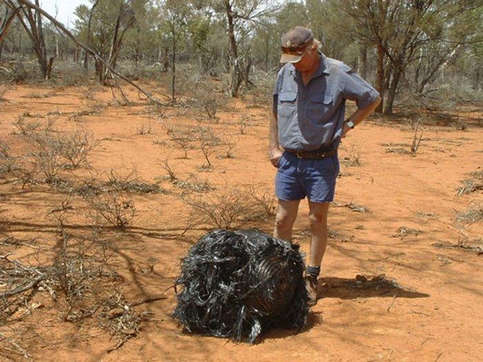 Một mẫu Space Balls rơi xuống Australia vào năm 2007 với đường kính 54cm, nặng 20kg.