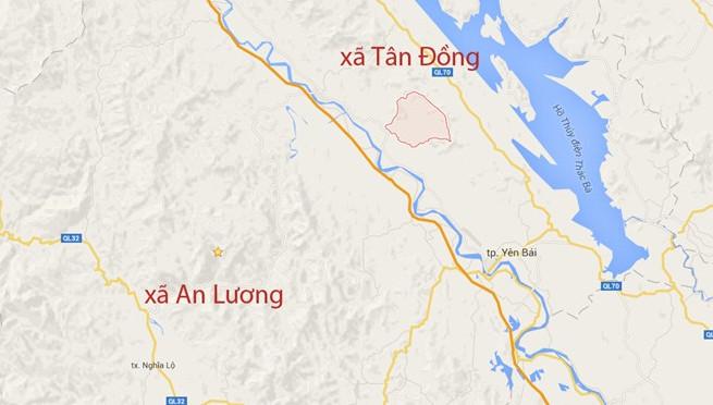 Xã An Lương (Văn Chấn) và xã Tân Đồng (Trấn Yên) - nơi phát hiện hai vật thể lạ - cách nhau khoảng 50km.