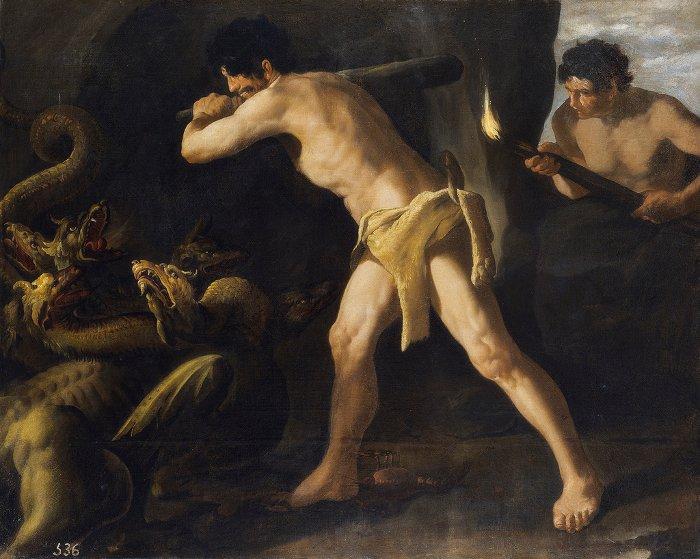 Minh họa trận chiến giữa Hercules và quái vật.