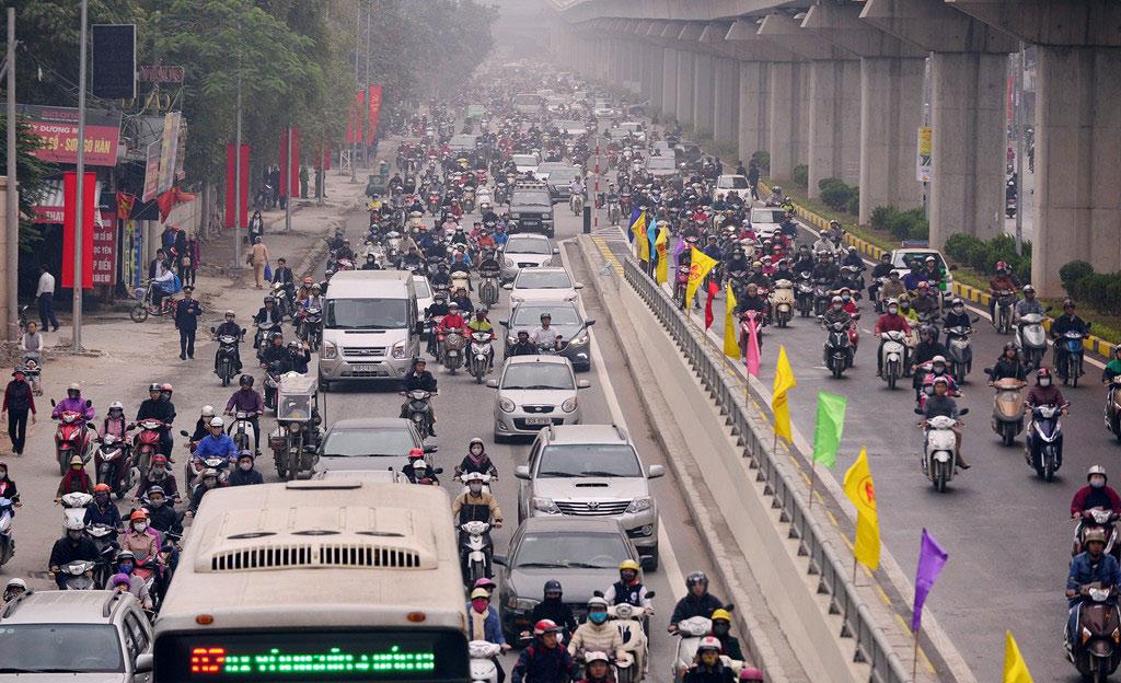 Cảnh tượng giao thông tại tuyến đường này như trong ảnh được coi là thông thoáng hơn trước đây vào giờ cao điểm.