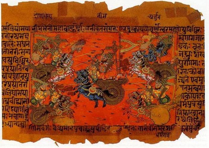 Bản thảo minh họa trận chiến trên không của Kurukshetra giữa Kauravas và Pandavas, ghi lại trong sử thi Mahabharata.