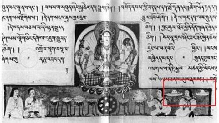 Nhiều văn bản tiếng Phạn cổ với hình ảnh UFO.