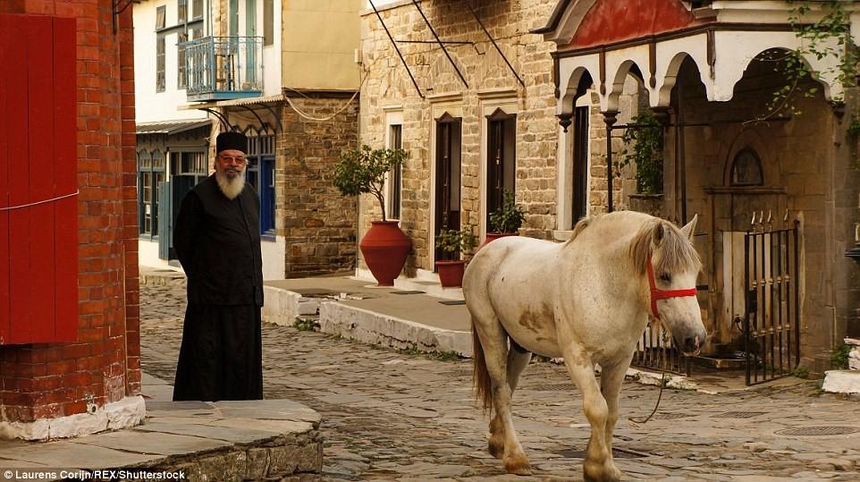 Một con ngựa lang thang trên đường phố. Không chỉ phụ nữ và trẻ em không được phép tới đây, thậm chí các động vật giống cái cũng bị cấm.