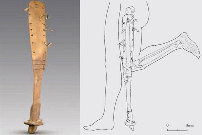 Chiếc chân giả hình móng ngựa trong ngôi mộ 2.200 năm tuổi ở Trung Quốc.