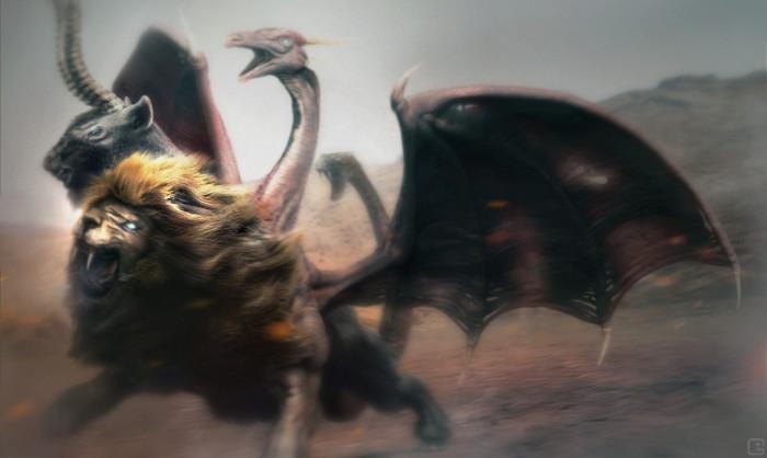 Hình ảnh mô tả quái vật Chimera trong truyền thuyết.