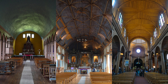 Gỗ là vật liệu nhiều nhất về số lượng cũng như sự đa dạng các thể loại trên đảo Chilóe vì thế mà các công trình nhà thờ Chilóe vô cùng đặc biệt, không nơi nào trên thế giới có được.