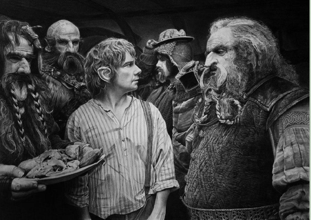 Bức tranh vẽ lại một cảnh trong phhim The Hobbit
