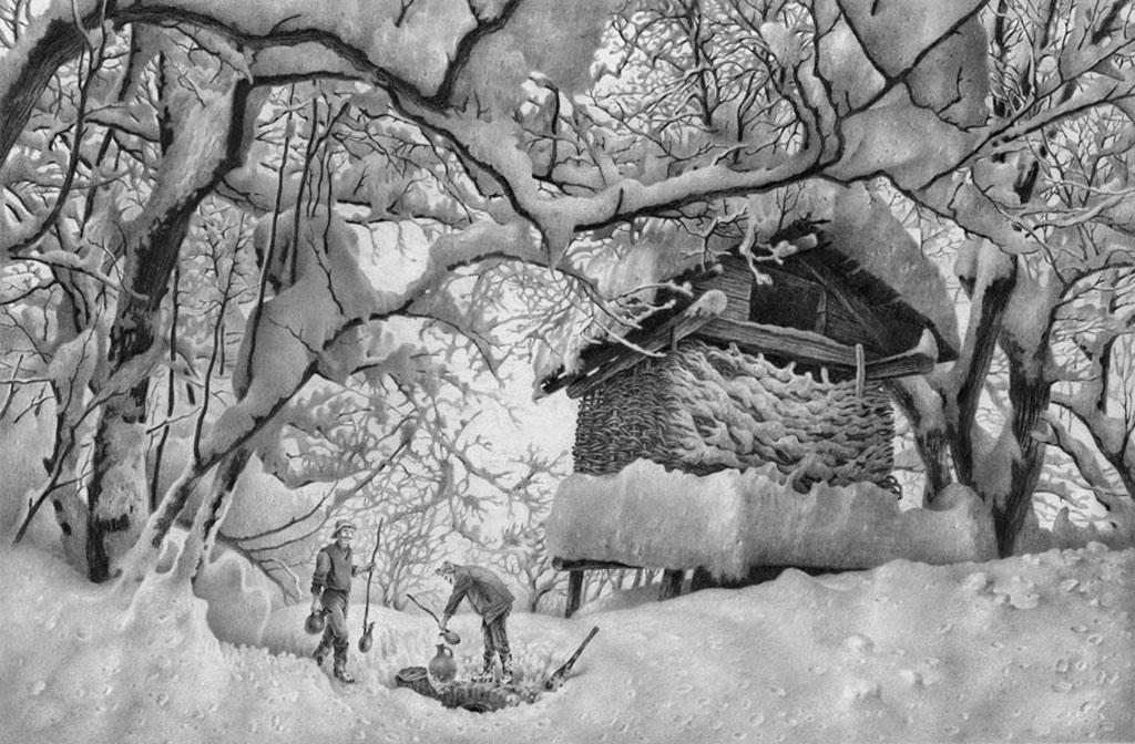 Bức ảnh này thật ấn tượng, bởi tất cả những chi tiết nhỏ mà nó đem lại: từ con người, nhà cửa, cây cối và băng tuyết...