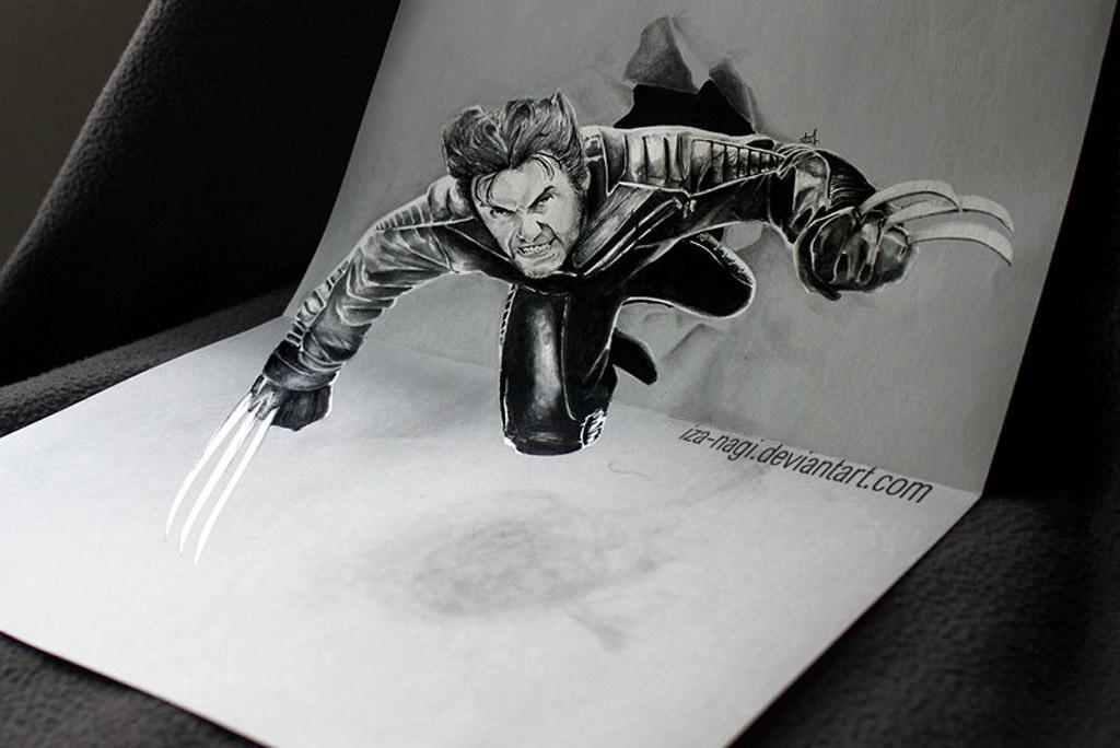Hình ảnh Wolverine được tái hiện thật chân thật thông qua mô hình 3D được vẽ bằng bút chì.