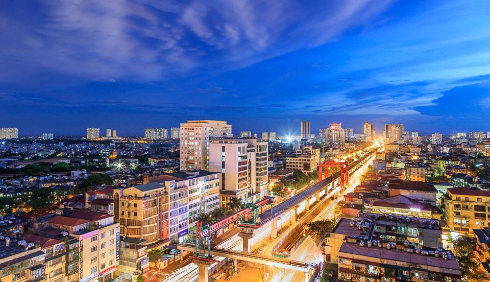 """""""Đường sắt đô thị Cát Linh - Hà Đông tại đường Nguyễn Trãi"""" của tác giả Nguyễn Đình Thành."""