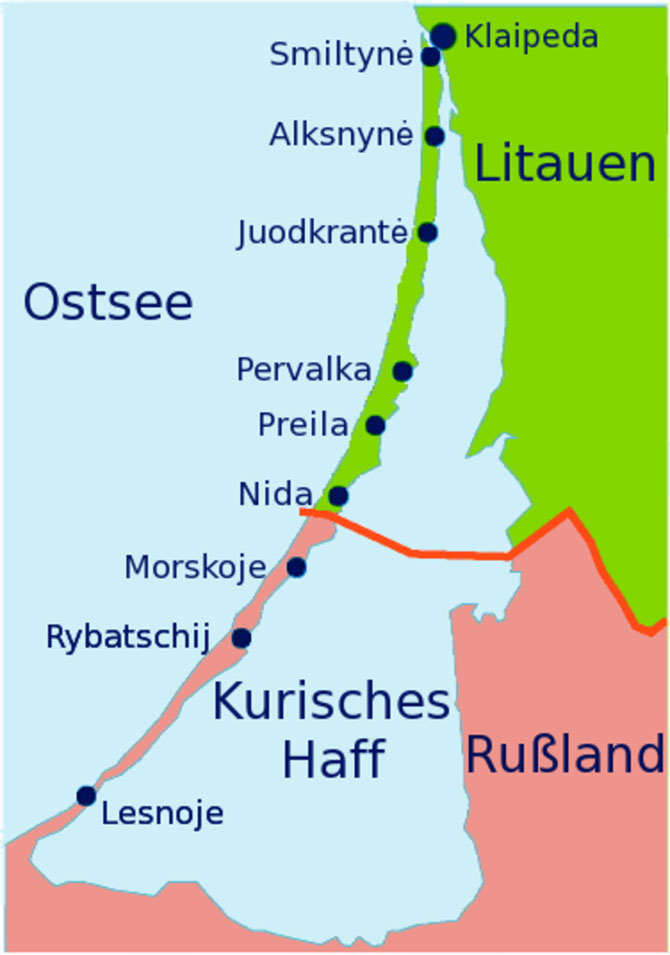 Phần phía Bắc của mũi đất dài 52 km thuộc về Litva, phần còn lại thuộc về Nga.