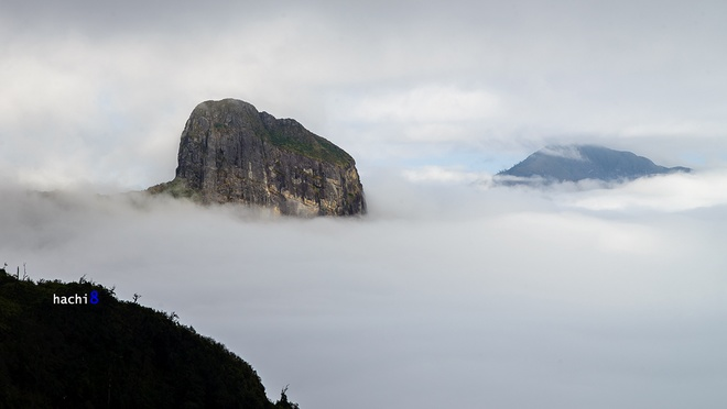 Vượt qua khu rừng thủy tinh, chúng tôi đã đến được đỉnh núi Nhìu Cồ San với độ cao 2.966 m. Ngọn núi vươn mình ngạo nghễ giữa mây trời. Đây là một đỉnh thuộc top 10 ngọn núi cao nhất Việt Nam.