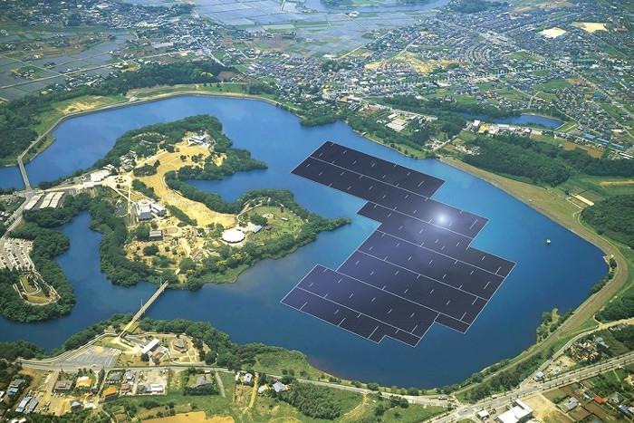Toàn cảnh nhà máy điện Mặt trời nổi Yamakura.