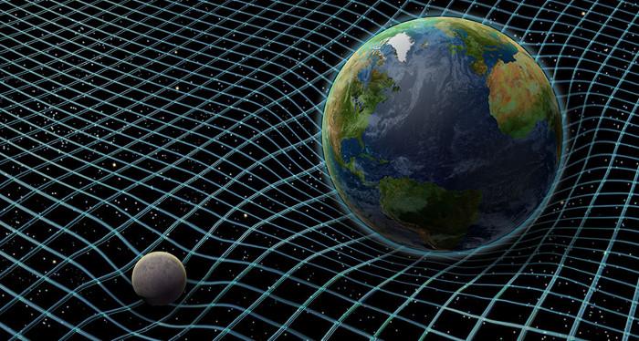 Lực hấp dẫn khiến không thời gian bị uốn cong.