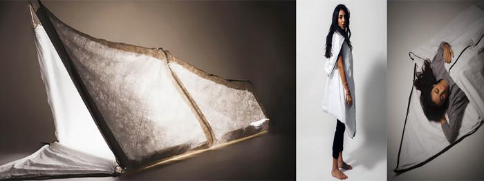 Chiếc áo này có thể biến thành túi ngủ hoặc lều dựng.