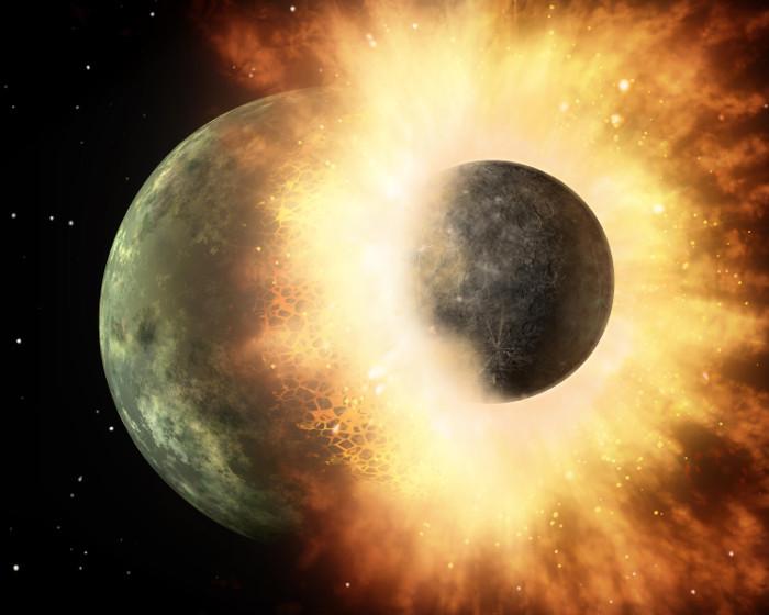 Mặt trăng được tạo ra nhờ một vụ va chạm cực mạnh giữa Trái đất và một hành tinh nhỏ hơn mang tên Theia.