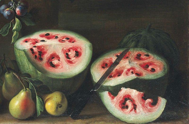 Bức vẽ dưa hấu vào thế kỷ 17 của Giovanni Stanchi, khác rất xa so với dưa hấu ngày nay.