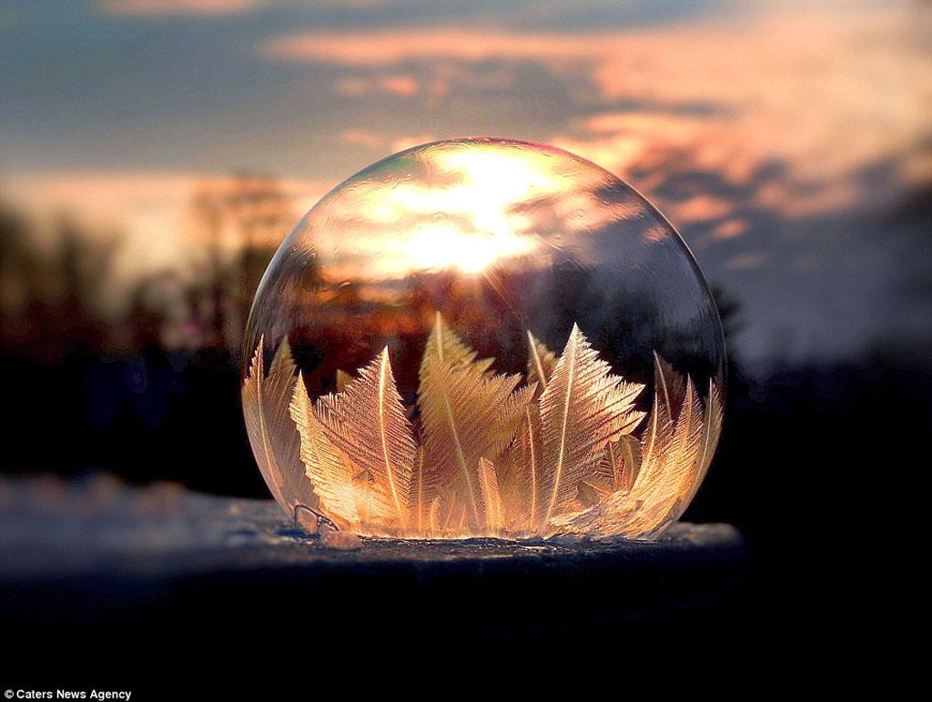 Bong bóng đóng băng tạo nên những tinh thể giống như hoa tuyết.