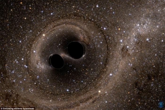 Mô phỏng 2 hố đen va chạm với nhau.