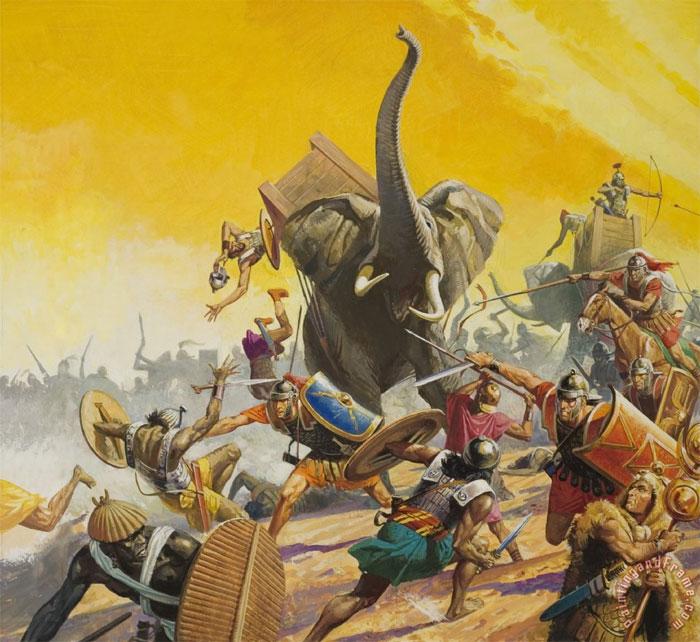 Phương Tây phát triển voi chiến ít hơn phương Đông.