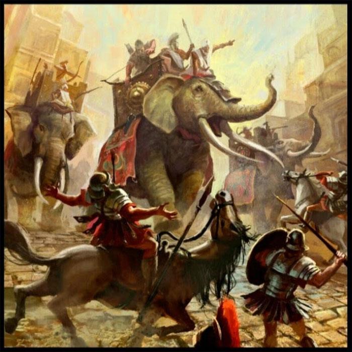 Người Ba tư sử dụng voi chiến rất thuần thục.