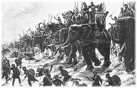 Tượng binh là đội quân vô cùng hùng mạnh.