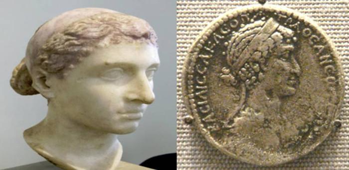Tượng bán thân và hình đúc trên đồng tiền được cho là của nữ hoàng Cleopatra tại Bảo tàng Altes, Đức.