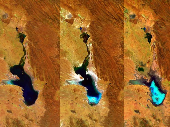 Hồ Poopó cạn dần qua các bức ảnh vệ tinh.