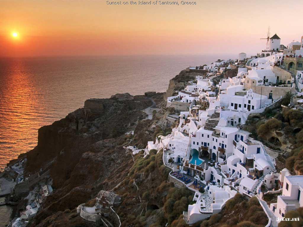Santorini, Hy Lạp trong cảnh hoàng hôn.