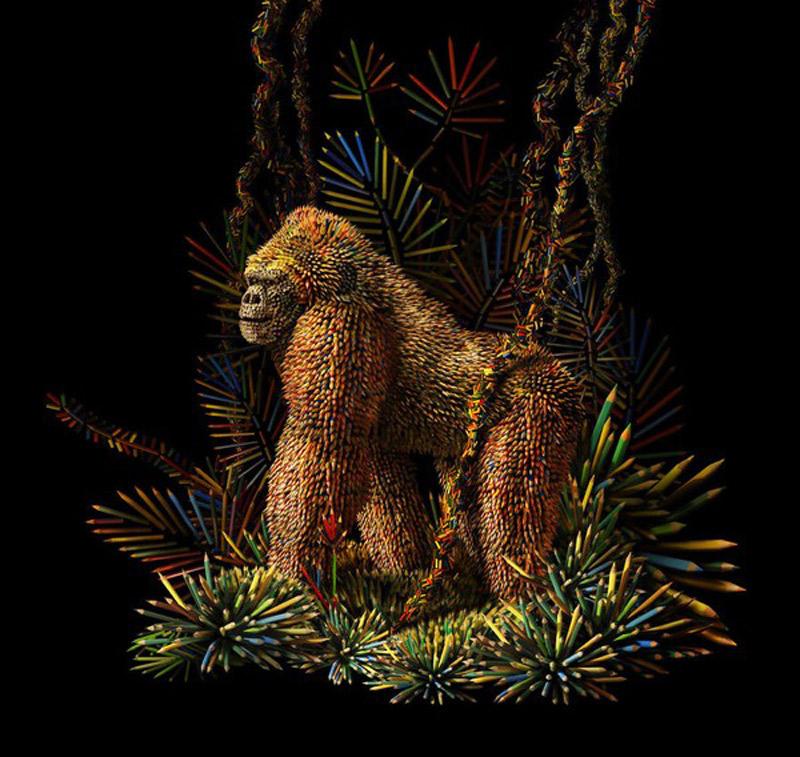 Bức điêu khắc Gorilla được làm từ hàng trăm chiếc bút chì.
